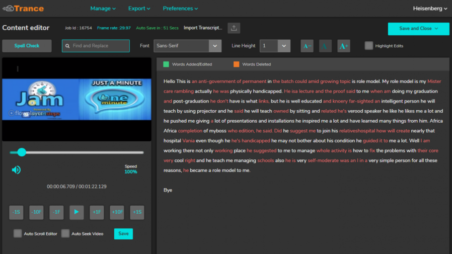 closed captioning and transcription content editor